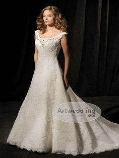 Off the Shoulder Allover Lace Princess Wedding Dress with Rhinestones