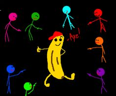 Coolbanana gets pointedat by men in all colors