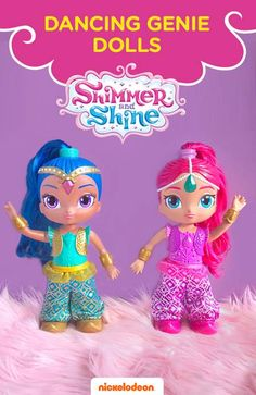 """It's time to dance, groove, and learn some magical moves with the Shimmer and Shine Dancing Genie Dolls 2-Pack! The genie dolls come dressed in their sparkly dance outfits ready to teach preschoolers the magic moves to great dances, like the """"Shimmer Shuffle"""", """"Boom Zahramay Boogie"""", and the """"Magic Carpet Slide""""! Perfect gift for any Shimmer and Shine fan!"""