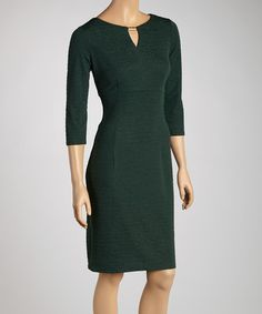 Take a look at this Forest Keyhole Sheath Dress by London Times on #zulily today!