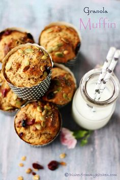 Eggless, butterless whole wheat granola muffin: Dishesfrommykitchen