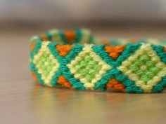 Green Rhombus Friendship BraceletMade to order by Shedrem on Etsy, $6.00 Jewelry , Bracelet,  Fiber  ,woven  ,macrame , friendship bracelet , hippie  ,colorful  ,tribal , geometric,  native,  Square ,rhombus,  yellow , green , orange