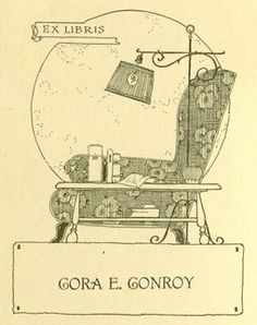 Ex Libris Cora E. Conroy, a lovely old bookmark from University of Delaware Library Digital Collections.