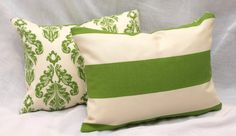 """Accent Pillows Decorative Pillows Reversible Green Damask Outdoor Pillow Covers 12""""x  16"""" Inches"""