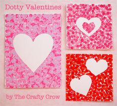 Make Dotty Valentines with Q-tips! The Crafty Crow dotty valentine cards Dotty Valentine Cards Materials List: card stock freezer paper scissors iron Precision Tips Q-tips acrylic paint in at least two colors Valentine Theme, Homemade Valentines, Valentine Day Love, Valentine Day Crafts, Holiday Crafts, Kids Valentines, Q Tip Art, Q Tip Painting, Valentines Day Activities