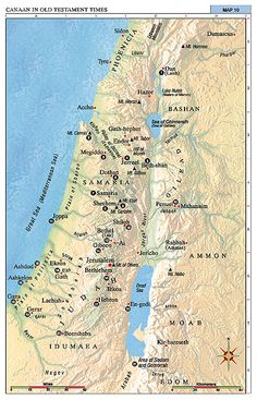 Map of Canaan in Old Testament Times