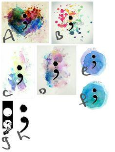 Watercolor Semicolon tattoo ideas love B