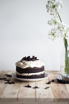 Dark chocolate Cake w Caramel Mascarpone Cream... MOUTH WATERING!!