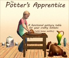 nixedsims:  A pottery table for your Sim kids, cloned from the FT pottery wheel. Grab it here.  Y'all! Nix did what EA should have done and it is adorable ♥