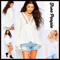"""FREE PEOPLE Boho Blouse Crochet Top FREE PEOPLE Boho Blouse Crochet Top Tunic Boho Blouse NEW WITH TAGSRetail:$128  * A relaxed & oversized fit   * Incredibly soft & lightweight fabric   * V-neck w/net insert & lace-up front; Long sleeves  * About 21-26"""" long (size M), w/Hi-Lo hem   * Lace, ribbon, & ruffle details     * Swing silhouette  * Pullover style; Made in the USA Fabric: 100% Polyester Color: Ivory    No Trades ✅Offers Considered*/Bundle Discounts✅  *Please use the 'offer' button to…"""