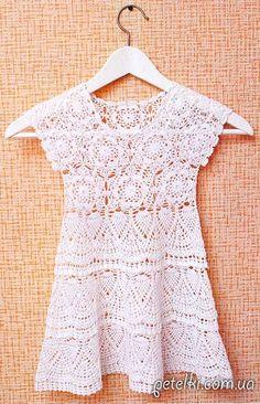 Vestido de verano para niñas de 1-2 años.  Descripción esquemas