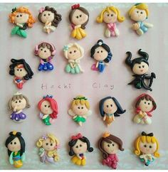 Polymer Clay Figures, Polymer Clay Dolls, Polymer Clay Crafts, Polymer Clay Princess, Clays, Princesas Disney, Cold Porcelain, Clay Art, Keychains