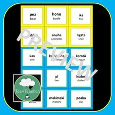 Maori Te Reo Language Flashcards & Memory Game - Animals, Bugs, Sea Creatures Valentine Bingo, Valentines For Kids, Life Learning, Learning Colors, Word Wall Labels, Shape Games, Flashcards For Kids, Classroom Language, Preschool Christmas