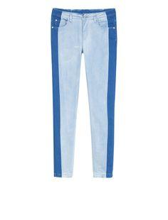 Jeans skinny fit con bande a contrasto, blu -
