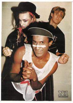 Boy George, Roy Hay, and Mikey Craig. Blitz Kids, Stranger Things Steve, Culture Club, Boy George, Group Photos, Captain Hat, Boys, Music, Steve Strange