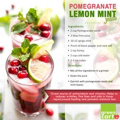 Liven up your Mornings with Pomegranate Lemon Mint Cooler