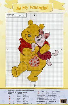 Borduurpatroon Winnie the Pooh kruissteek *Cross Stitch Pattern ~Pooh en Knorretje *With Piglet~