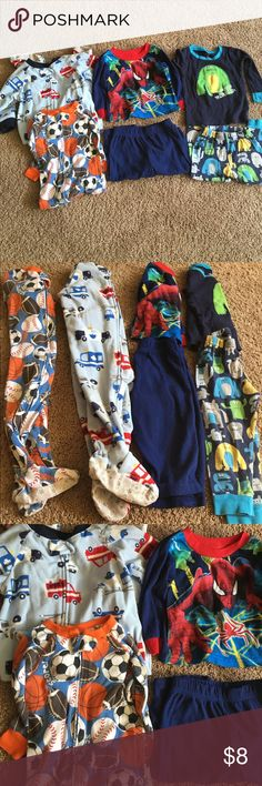 PJ bundle Boy's PJ bundle including one fleece truck one-piece zipper sleeper, one thinner sport 'sleep 'n play' style, one fleece spider-man top and bottom, one thinner monster top and bottom. All are Carter's except for Spider-Man set. All are used condition. No holes or stains but the thinner pieces are beginning to fade a bit. I'm happy to separate or mix and match listings, just ask. 💕🛍bundle discount available💕🛍 Carter's Pajamas