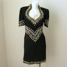 Amazing vintage Creative Creations gorgeous black beaded silk formal dress or evening gown with a dramatic cutout back.