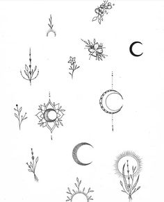 Moon and Flower - # symbol - - DIY tattoo images - tattoo images dr Mini Tattoos, Little Tattoos, Body Art Tattoos, Tiny Finger Tattoos, Symbol Tattoos, Wolf Tattoos, Tatoos, Tattoo Symbols, Flash Tattoos