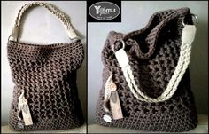 """**Yofti.S """"No.7"""" 2016 - Crochet-Shopper**  Häkeltasche bzw. Shopper aus hochwertigem recycelten Textilgarn im angesagten Look. Das verwendete Garn ist sehr robust und aufgrund des Loch- bzw...."""