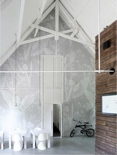 Church converted into home ~ love the wall painting