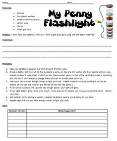 Electrical Circuits ~ My Penny Flashlight Lab sheet ~ Science experiment 5th Grade Science Experiments, Fourth Grade Science, Elementary Science, Science Activities, Science Projects, Science Electricity, Electric Circuit, Circuit Projects, Circuits