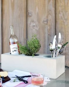 Make This Chic and Simple Cement Trough Centerpiece