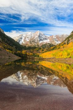 These are the most photographed mountains and they are in North America in Aspen, Colorado. The Maroon Bells make for a great road trip destination!