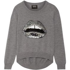 Markus Lupfer Lara Lip Joey sequin-embellished merino wool sweater (1,300 PEN) via Polyvore featuring tops, sweaters, grey, merino wool sweater, markus lupfer sweater, grey top, grey sweaters y embellished sweaters