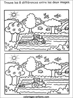 Les jeux de la ferme English Activities, Educational Activities, Preschool Activities, Preschool Worksheets, Preschool Crafts, Learning Tools, Kids Learning, Coloring For Kids, Coloring Pages