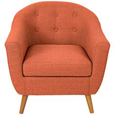 Rockwell Orange Upholstered Accent Chair - #7W175 | LampsPlus.com