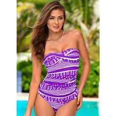 Venus Twist Bandeau Tankini ($29) ❤ liked on Polyvore featuring swimwear, bikinis, bandeau bikini, bandeau swimwear, strappy bandeau bikini, ruched bikini и bandeau tankini