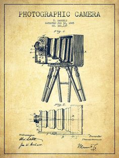 Camera Poster featuring the drawing Photographic Camera Patent Drawing From 1885…