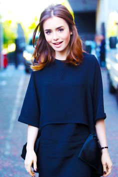 Lily Collins - great brown hair color