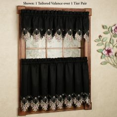 Annabella Rose Floral Black Tier Window Treatment $28.99; valance $23.99