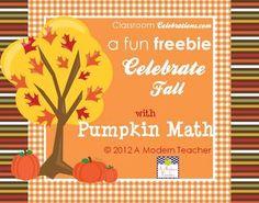 Pumpkin Math Freebie - A Modern Teacher - TeachersPayTeachers.com