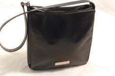 LAND Leather Handbag Purse Shoulder Bag, Dark Navy Blue, Logo in Front