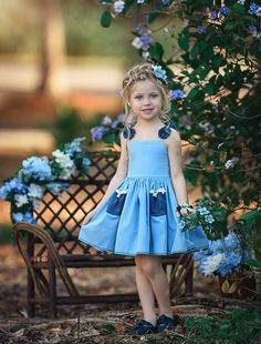Included is an elasticated back for comfort and stretch. Very cute blue dress! Little Girl Dresses, Girls Dresses, Flower Girl Dresses, Toddler Dress, Baby Dress, Marine Uniform, Kind Mode, Ideias Fashion, Kids Outfits