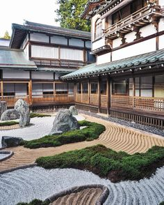 View from our temple ryokan on Koyasan  Super zen and beautiful! Confession: I accidentally stepped through those perfectly landscaped rock gardens on my way into the temple and destroyed a little bit of it  Oops. #koyasan #yinagoestojapan