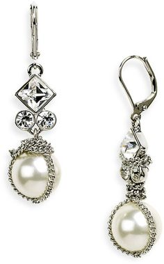 Givenchy White Vanguard Small Glass Pearl Earrings