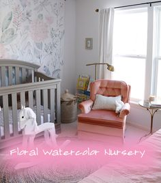 Sophia's nursery reveal! Floral Watercolor Tapestry, pink, grey, and gold color palette.
