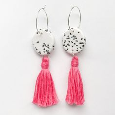 "Image of ""Tori"" polymer clay hoop earrings with tassel Hot pink"