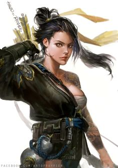 Hanzo Shimada of Overwatch genderbend Hanzo Overwatch, Overwatch Fan Art, Dnd Characters, Fantasy Characters, Female Characters, Fantasy Women, Fantasy Girl, Character Portraits, Character Art