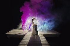 EPIC WEDDING PHOTO. Smoke bomb wedding portrait. Loads of colored smoke and awesome sauce! - Miranda Marrs Photography