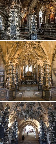 Amazing ! Inside the Bone Church: Chilling tourist attraction which is decorated with the skeletons of 70,000 plague victims. Some of these displayed on four huge marble obelisks. Sedlec Ossuary in the Czech Republic features an artful collection of dismembered and bleached human remains. The chilling building lies beneath the Cemetery Church of All Saints, and contains mainly 1318 plague victims. Local woodcarver František Rint was given the job of bleaching and arranging the remains.