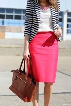 How to Wear a Hot Pink Pencil Skirt (32 looks) | Women's Fashion