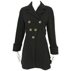 Vintage Gianni Versace Couture 90s Black Peacoat Jacket | From a collection of rare vintage pea-coats at https://www.1stdibs.com/fashion/clothing/jackets/pea-coats/