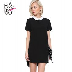 cb81fe4ef09e New Fashion Summer Dress Preppy Style Cute Summer Sundresses Peter Pan  Collar Short Sleeve Chiffon Dress