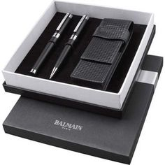 Balmain Gift Sets. Exclusive design ballpoint pen and rollerball pen set with delicately etched line detail. Includes elegant carbon fibre look pouch (12.5 x 4...